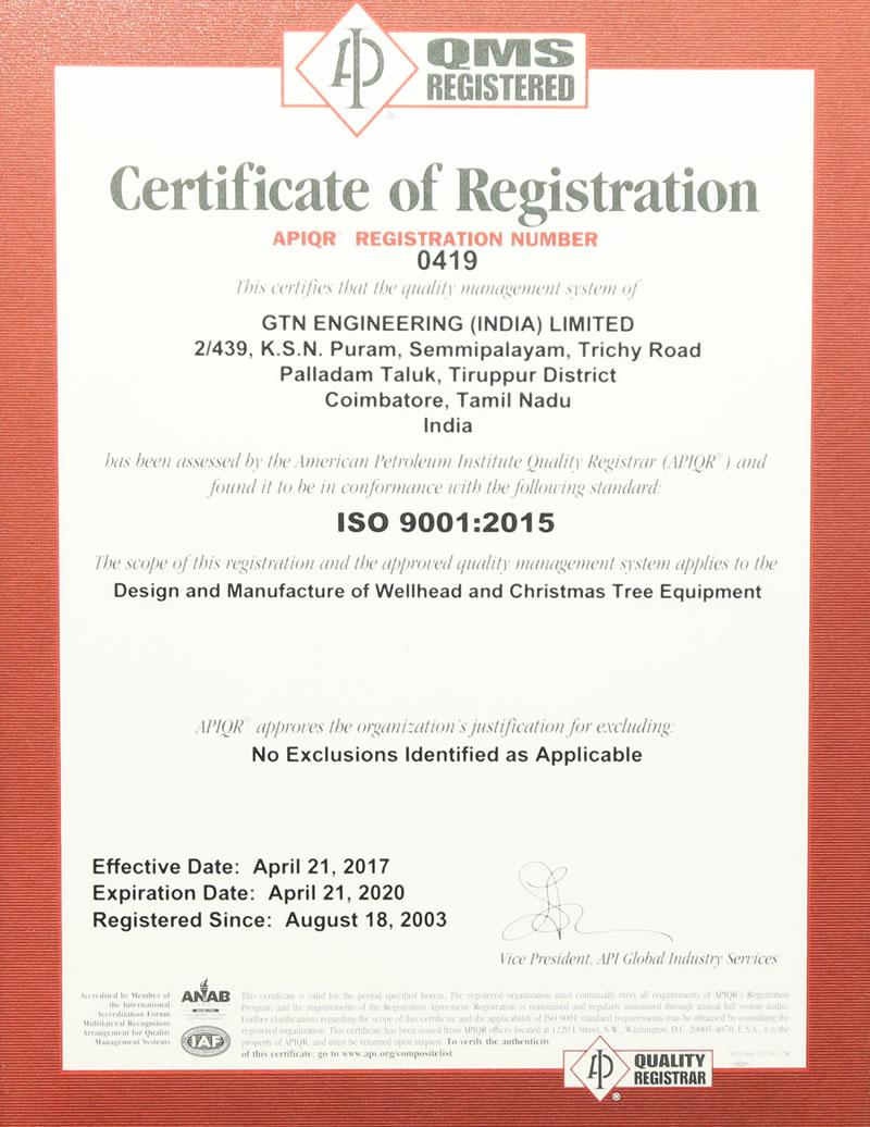 ISO 9001 API