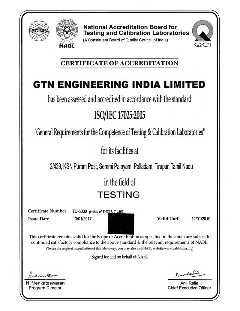 ISO/IEC 17025 : 2005 Accreditation